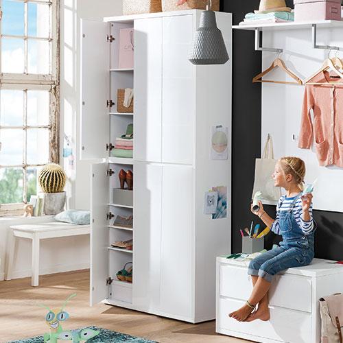 mehrzweck hochschrank wei m bel rundel. Black Bedroom Furniture Sets. Home Design Ideas